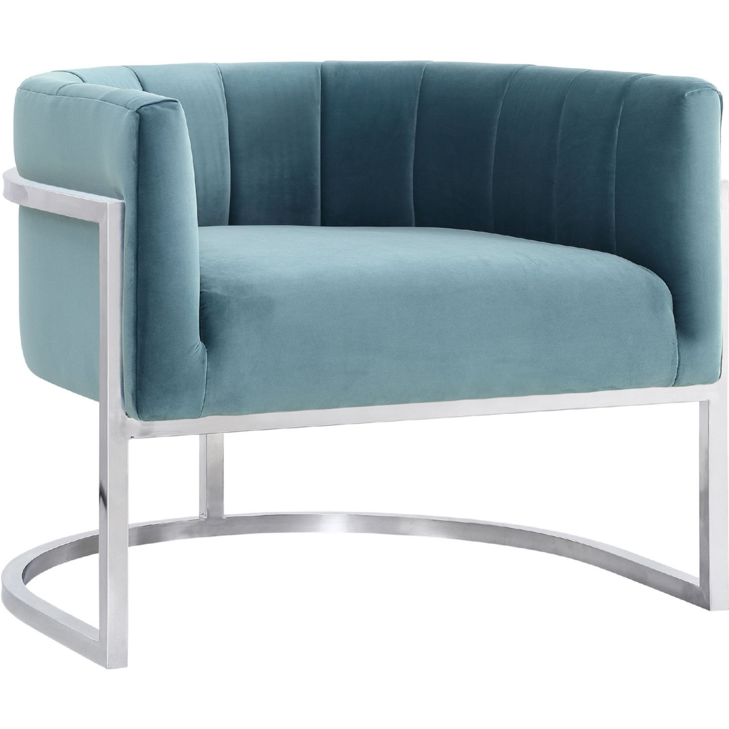 Sea Blue Velvet Chair w Silver Stainless Steel Base dynamichome
