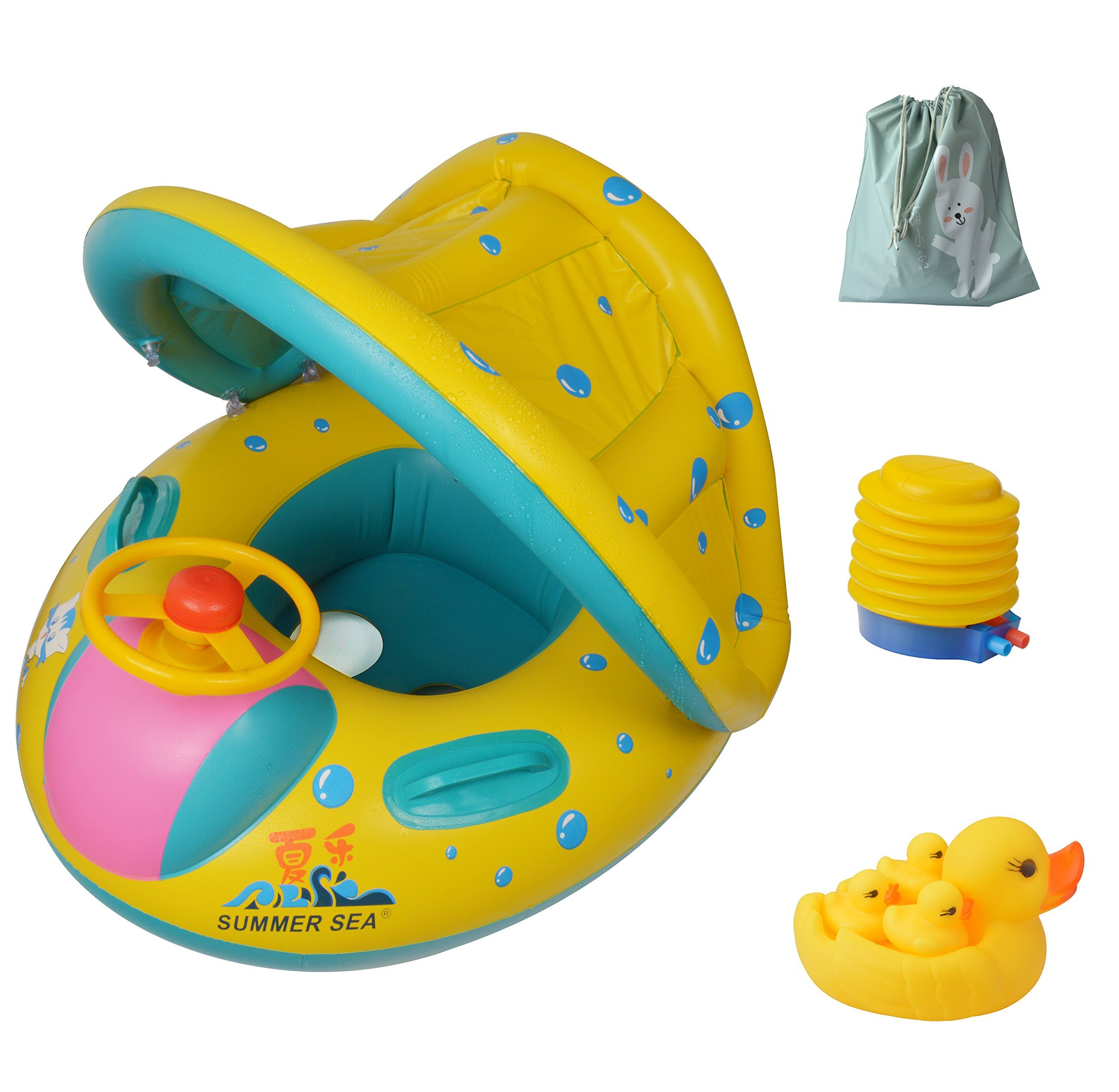 Inflatable baby floatpool swimming ring with sun canopy