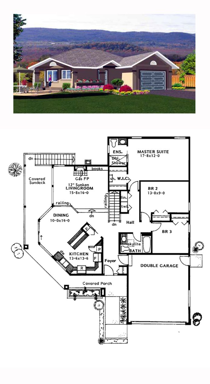 Southwest Style House Plan 90983 With 3 Bed 2 Bath 2 Car Garage House Blueprints House Plans Southwest House