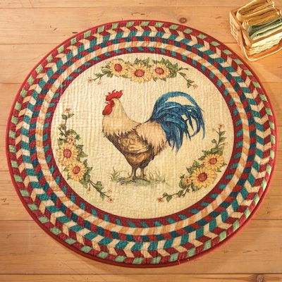 Round Farmhouse Rooster Accent Rug in 2019 | Rooster kitchen ...