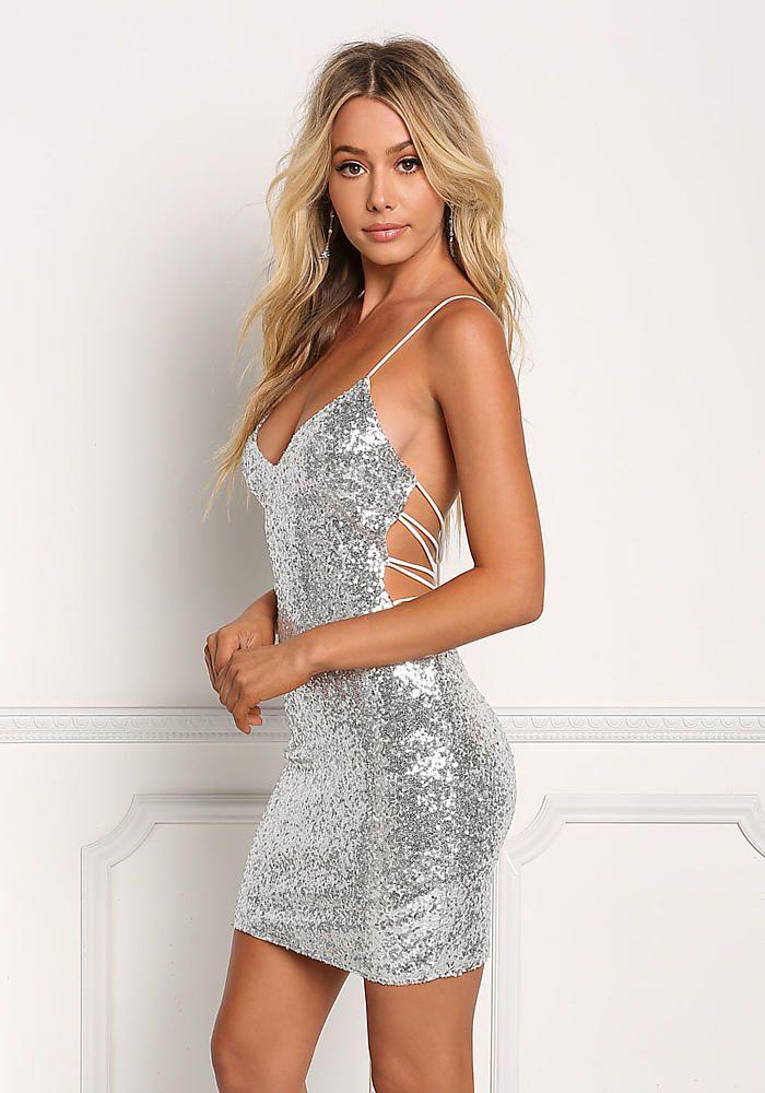9b442495c9 Silver Sequin Multi Strap Back Bodycon Dress - Dresses