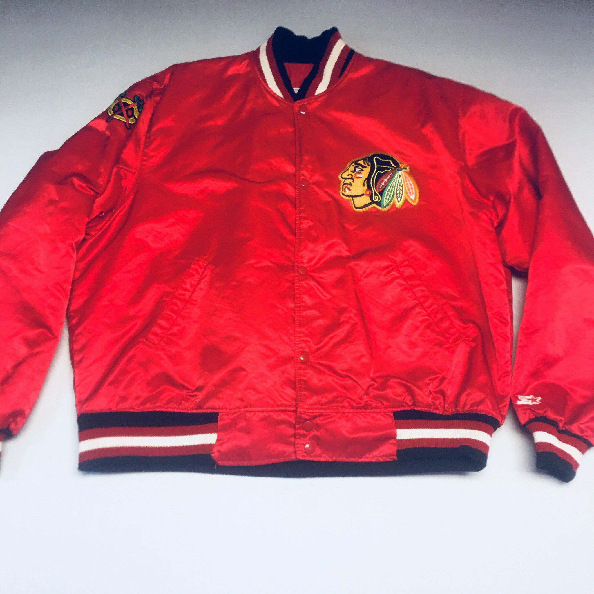 c18cda8c7 Excited to share this item from my  etsy shop  Vintage Red Mens XXL Chicago  Blackhawks Satin Starter Bomber Jacket