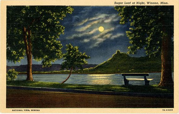 Vintage Minnesota postcard of Sugar Loaf Bluff in Moonlight by Mississippi River in Winona.
