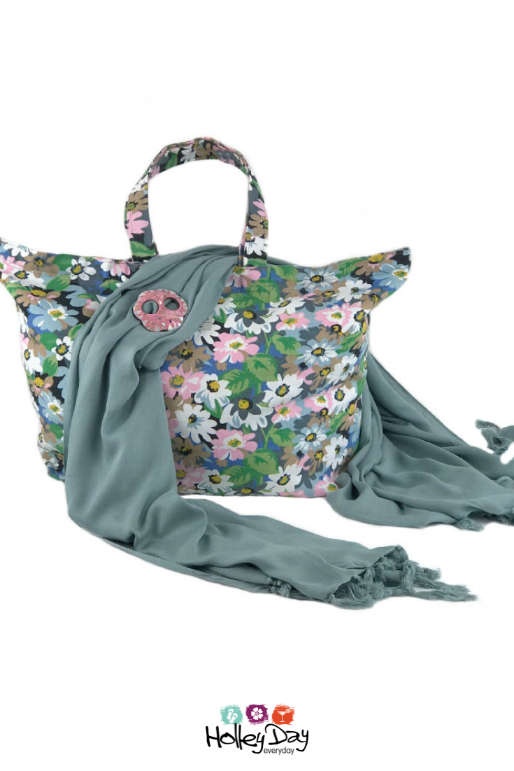 5e56cd941 Large Floral Canvas Beach Bag + Grey Sarong + Pink Shell Sarong Buckle |  Gift Set #holleyday #holleyday2day #beachbag #carrybag #canvasbag #beach # bag ...