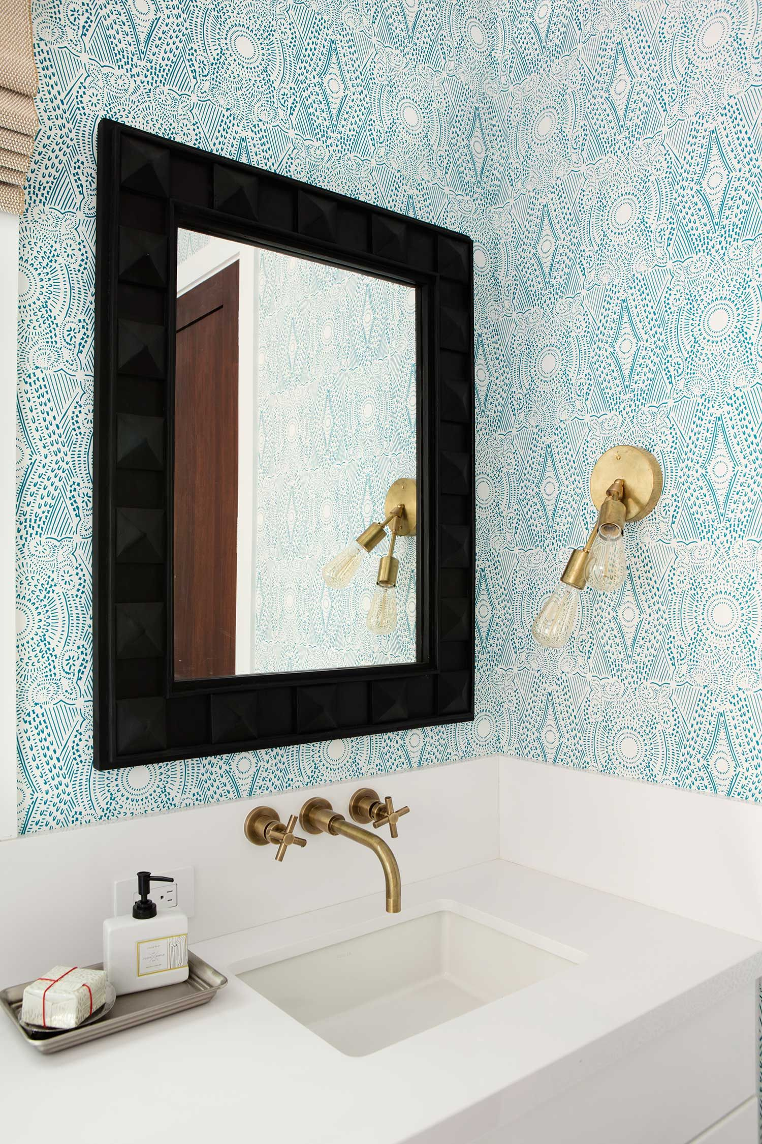 Gold And Blue Powder Room With Black Prism Mirror