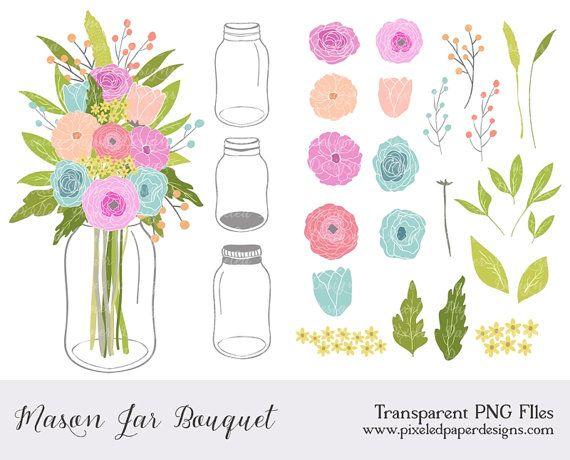 mason jar flowers clip art flowers clipart digital clipart for rh pinterest com rustic floral wreath clip art rustic flower clip art free