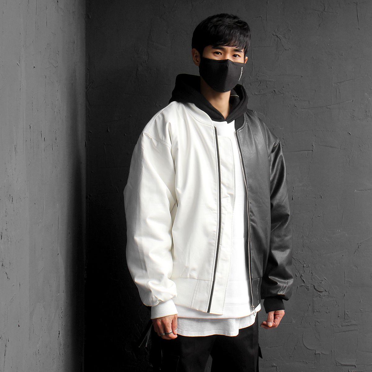 Half Black White Contrast Color Faux Leather Bomber Jacket 077 Faux Leather Bomber Jacket Jackets Bomber Jacket [ 1200 x 1200 Pixel ]