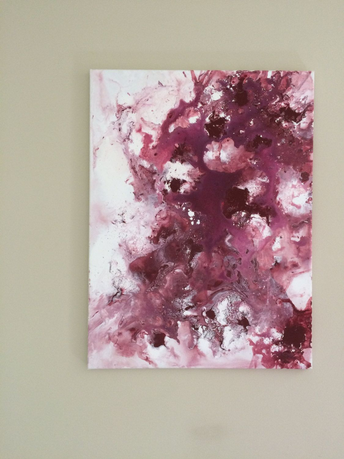 Abstract acrylic large canvas art burgundy white modern