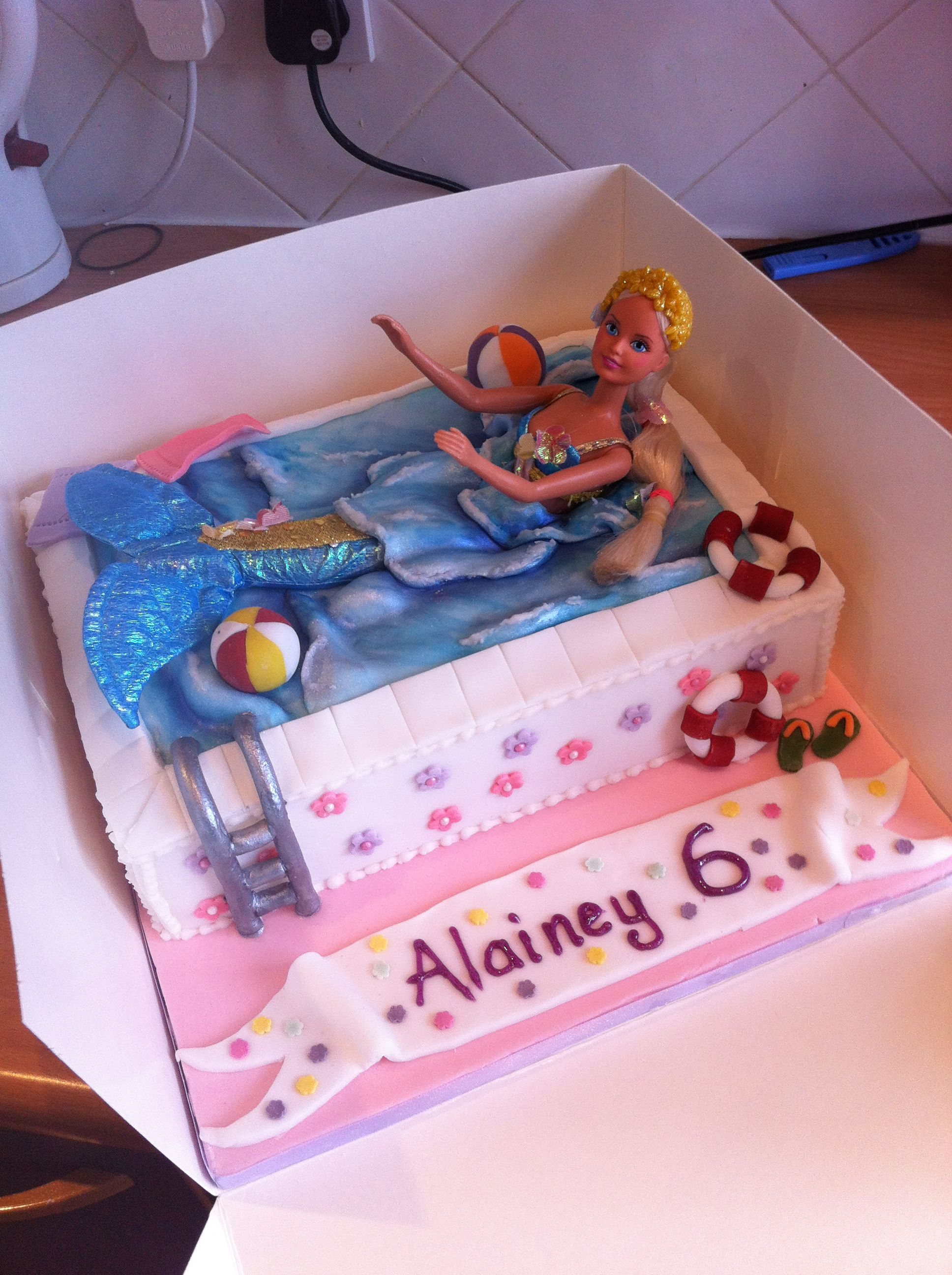 Barbie Swimming Pool Cake Cakes Cupcakes Candy Pinterest Pool Cake Cake And Cake Art