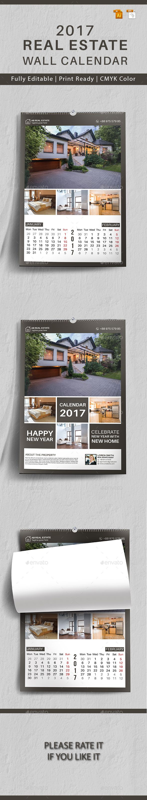 Real Estate Template%0A Real Estate Wall Calendar