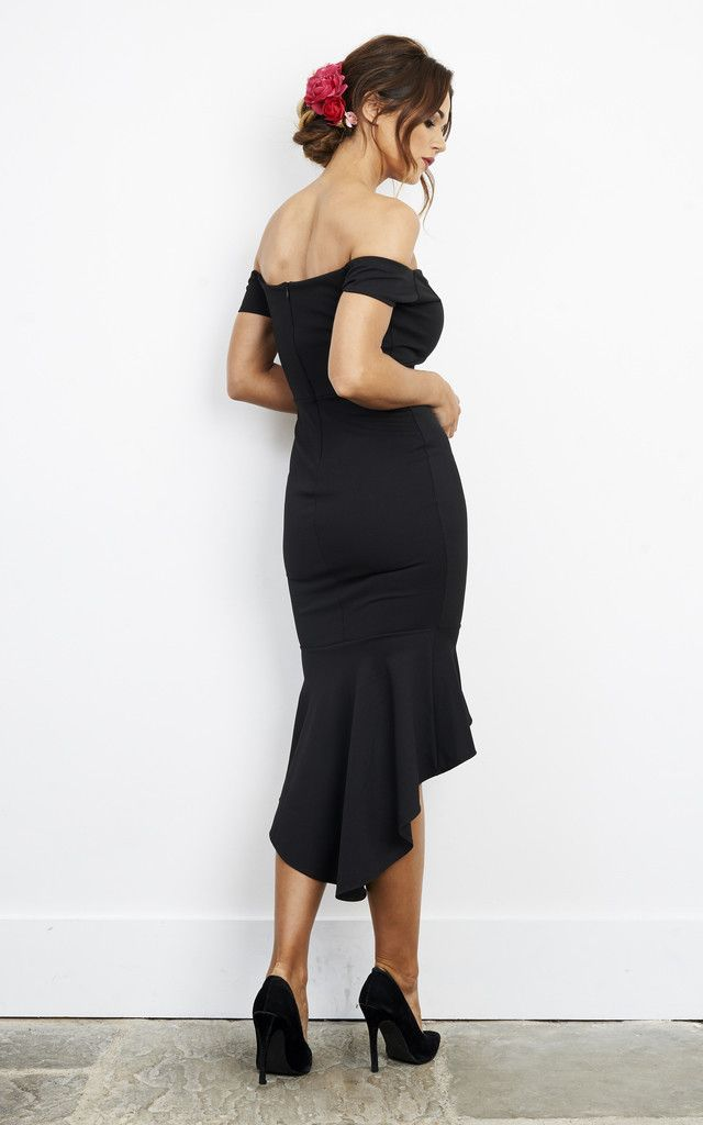 c213bbb6559 Black Frill Bottom Off The Shoulder Dress By John Zack in 2019 ...