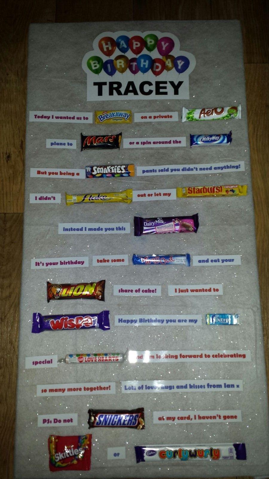Birthday Candy Card Gift Celebration Chocolate Candy Card Uk