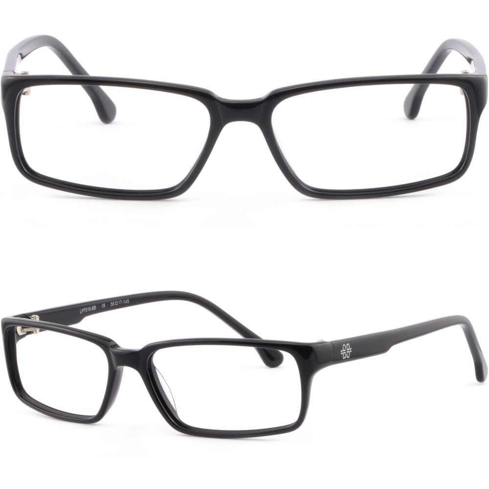 e886a40f99fe Shiny Black Full Rim Rectangular Light Plastic Frame Prescription Glasses  Lenses  Unbranded