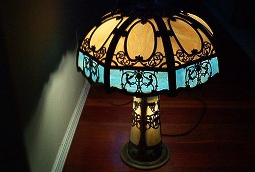 Antique Tiffany Style Table Lamp Circulation 1910 Era Br And Stain Gl Rare Ebay