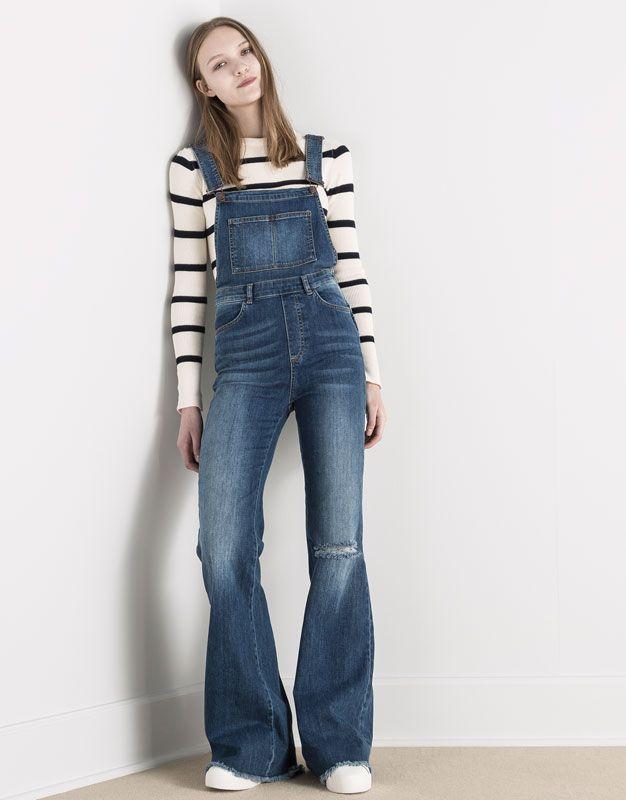 pantalons de peto texans acampanats style rock 39 n 39 roll jeans latzhose latzhose damen y. Black Bedroom Furniture Sets. Home Design Ideas