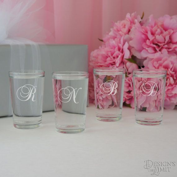 By the Dozen - Personalized Shot Glasses with Monogram Choice and Font Selection (2.5 oz. Engraved Shot Glasses) by DesignstheLimit #TrendingEtsy