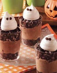 Boo Cups: Individual cups of crushed oreos with pudding in between are topped…
