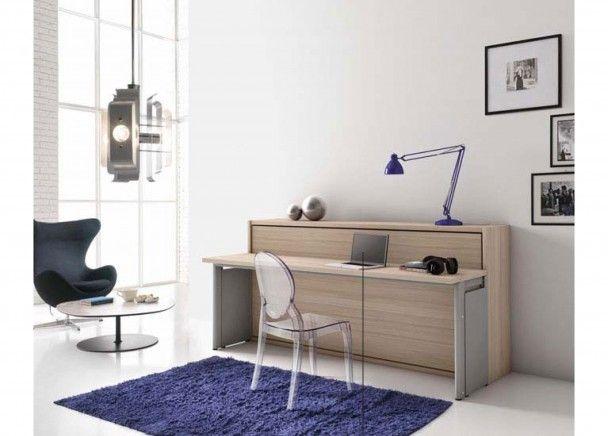 Sal n con cama abatible y escritorio salones con camas - Escritorio salon ...