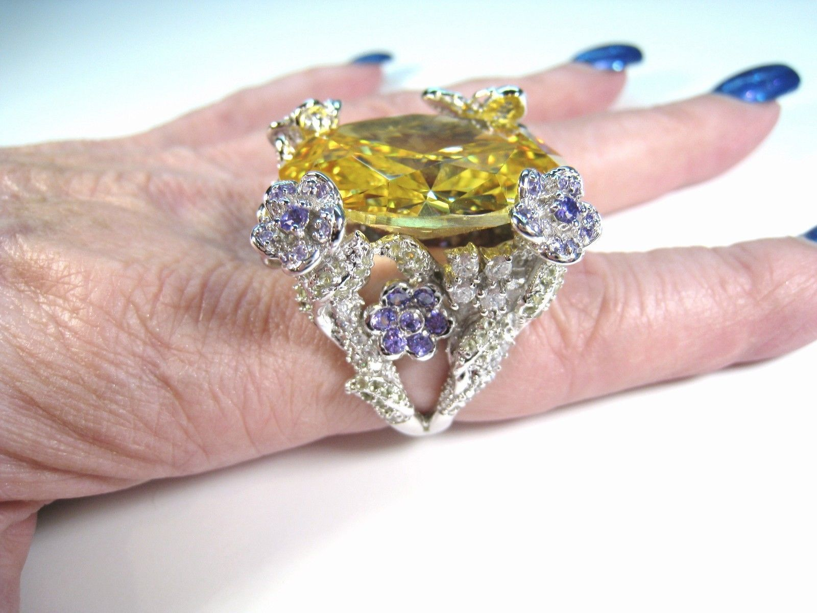 CANARY YELLOW CUBIC ZIRCONIA FLOWER & BUTTERFLY RING sz 8 - 925 ...
