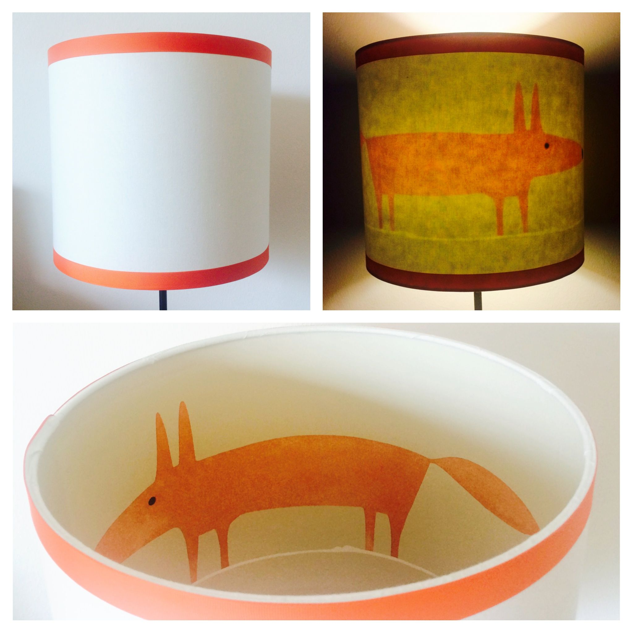 What does the fox say? 30cm Drum shade. Handcrafted by lampelier