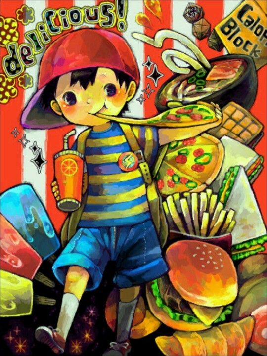 Ness of Earthbound my kind of video game character eats junk