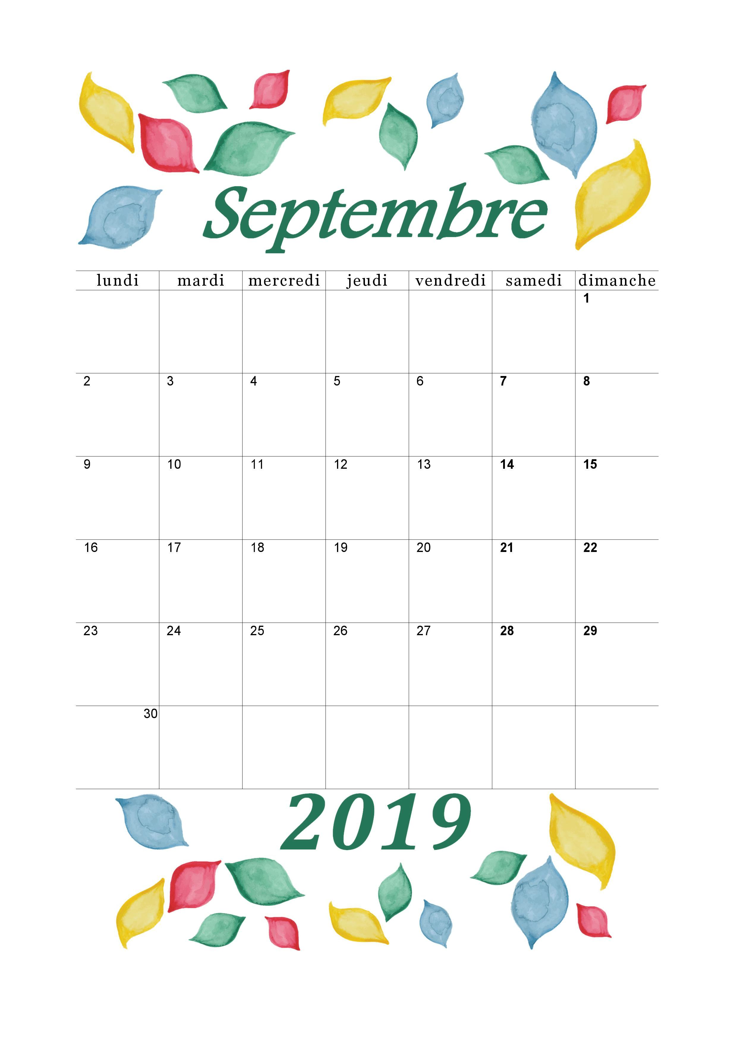 Calendrier 2018 2019 Mensuel à Imprimer Calendrier
