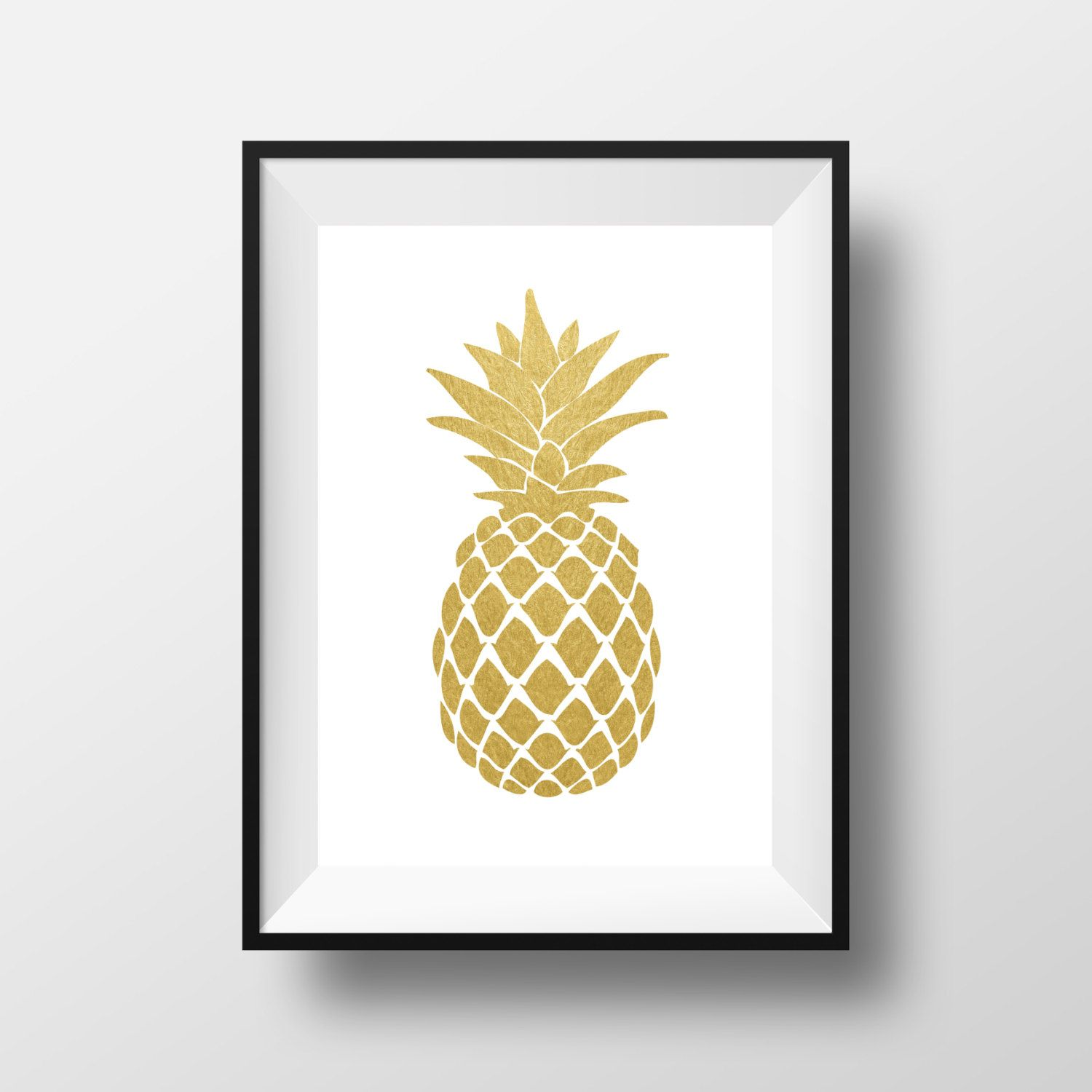 Wall Art Design Ideas, Gold White Pineapple Wall Art Paper Black ...