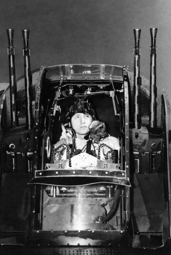 25 March 2014: A burning plane 18,000′ over Germany and no parachute  Flight -Sergeant J Morgan, the rear gunner of an Avro Lancaster of No. 630 Squadron RAF at East Kirkby, Lincolnshire, checks his guns in the Nash & Thompson FN20 tail turret before taking off on a night raid on the marshalling yards at Juvisy-sur-Orge, France.