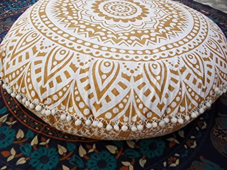"Traditional Jaipur Golden Ombre Mandala Floor Cushion, Large Decorative Throw, Round Pillowcases 32"", Boho Pillow Shams, Indian Outdoor Cushion Cover"