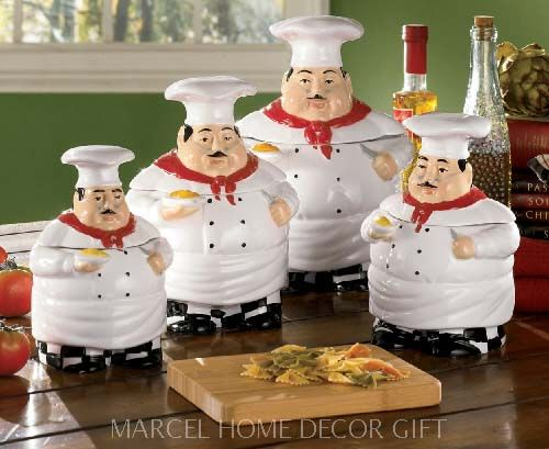 Italian Chef Kitchen Decor Items Canister Set Ceramic Welcome To Marcel Home
