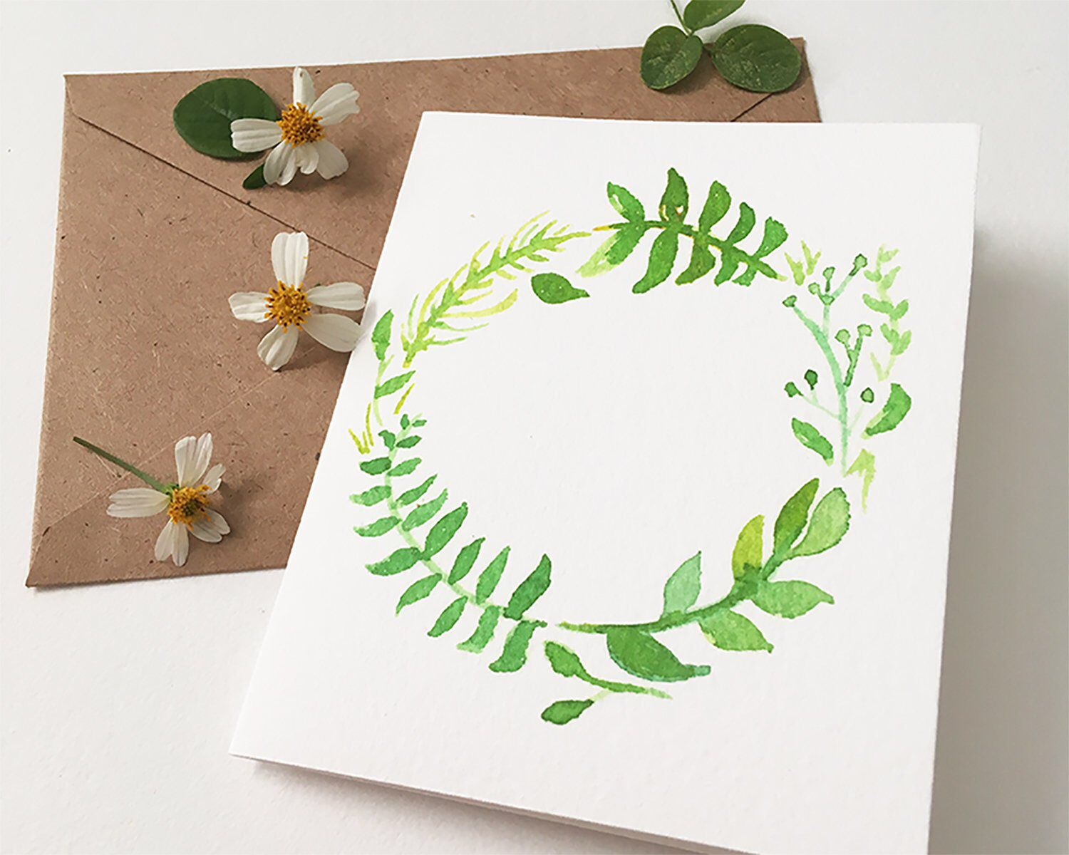 Leaf Floral Wreath Notecard And Envelope Wreath Greeting Card