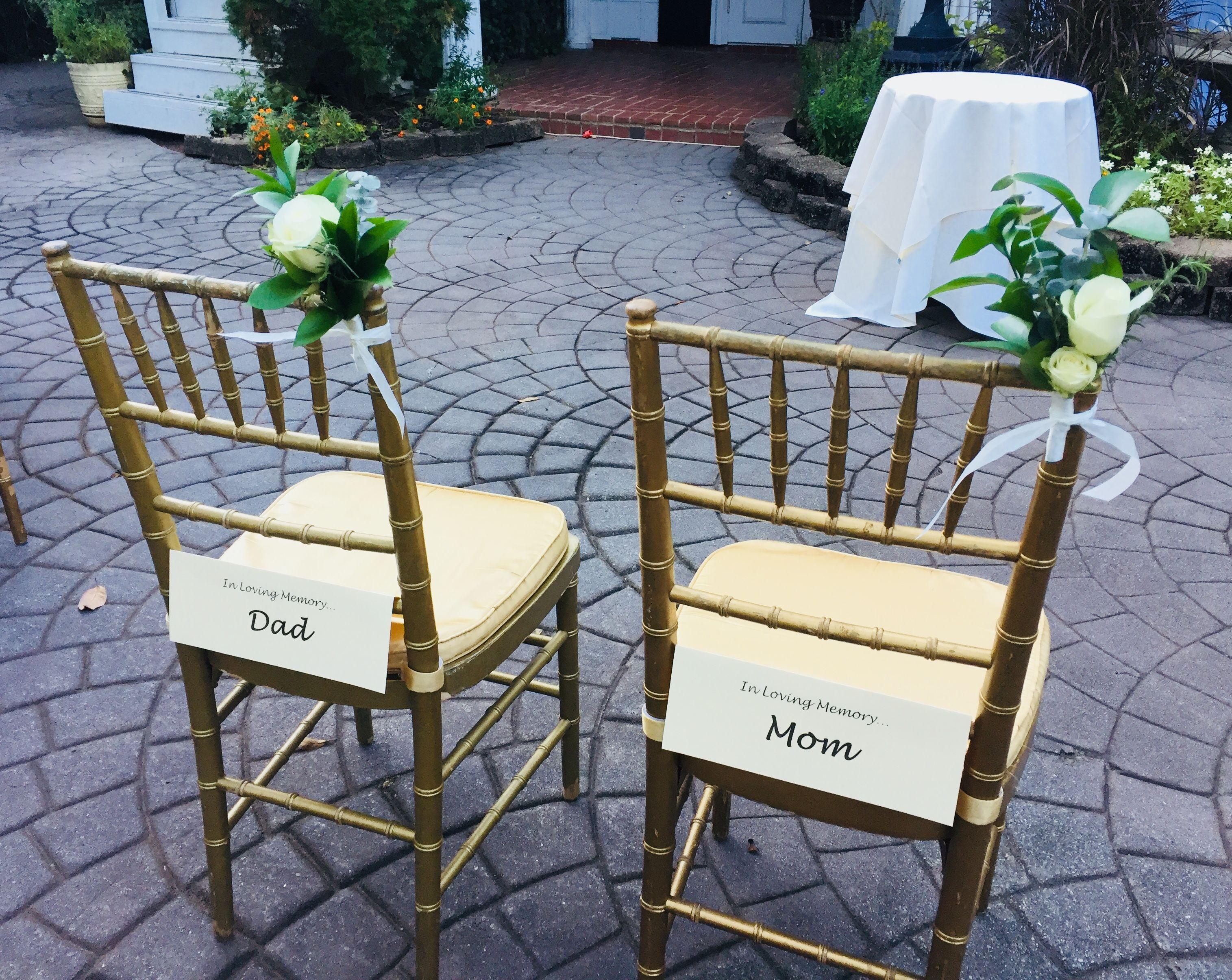 Memory Chairs at wedding | Wedding memorial, Wedding ...