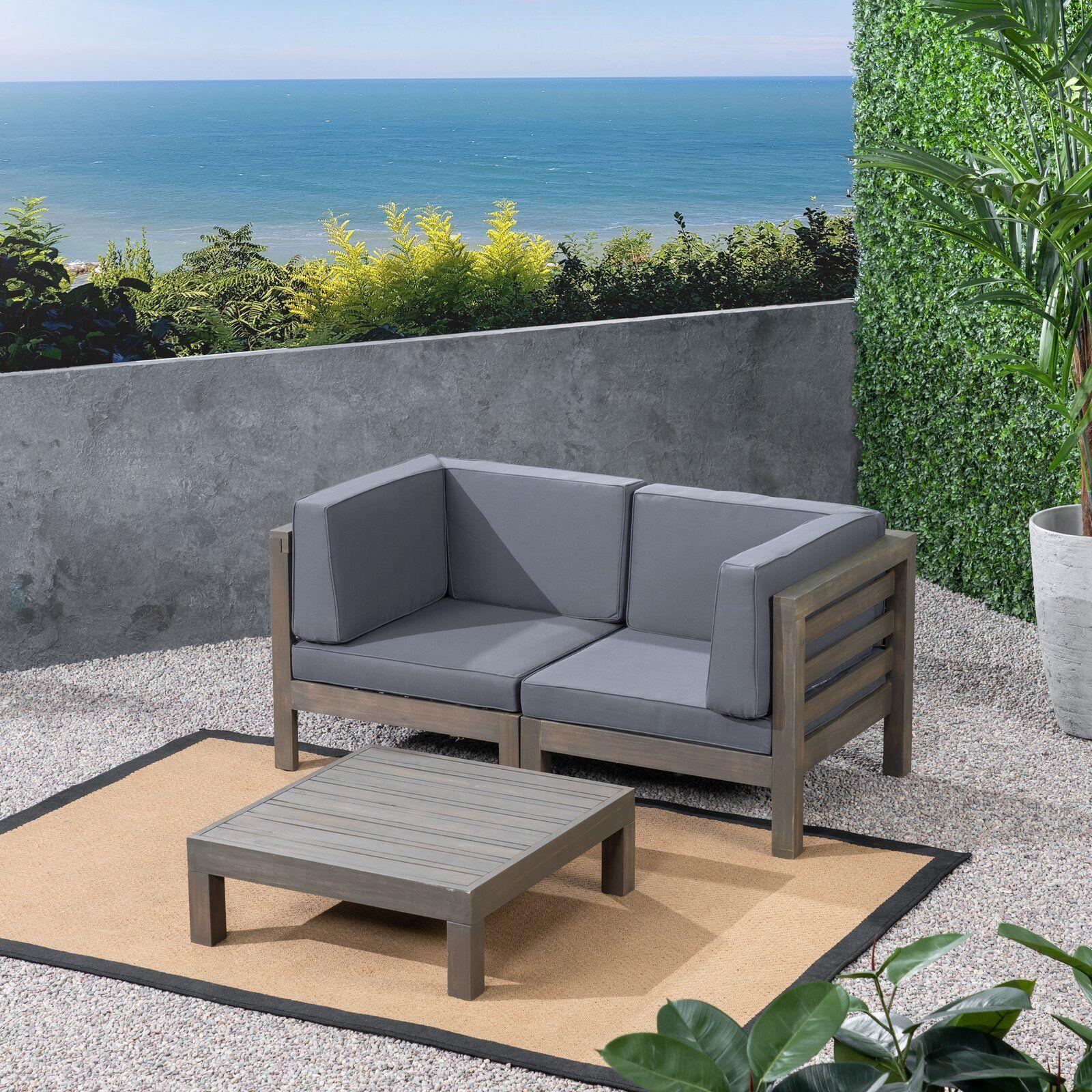 Brayden Studio Seaham 3 Piece Teak Sofa Seating Group With Cushions Wayfair Teak Sofa Conversation Set Patio Seating Groups