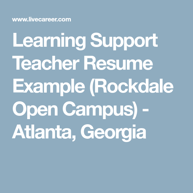 Learning Support Teacher Resume Example (Rockdale Open