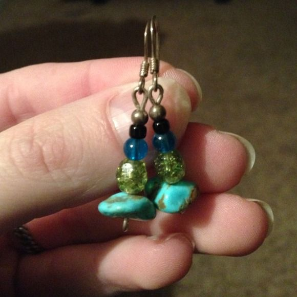 Handmade earings Real turquoise handmade earrings sterling silver hooks so great for sensitive ears Jewelry