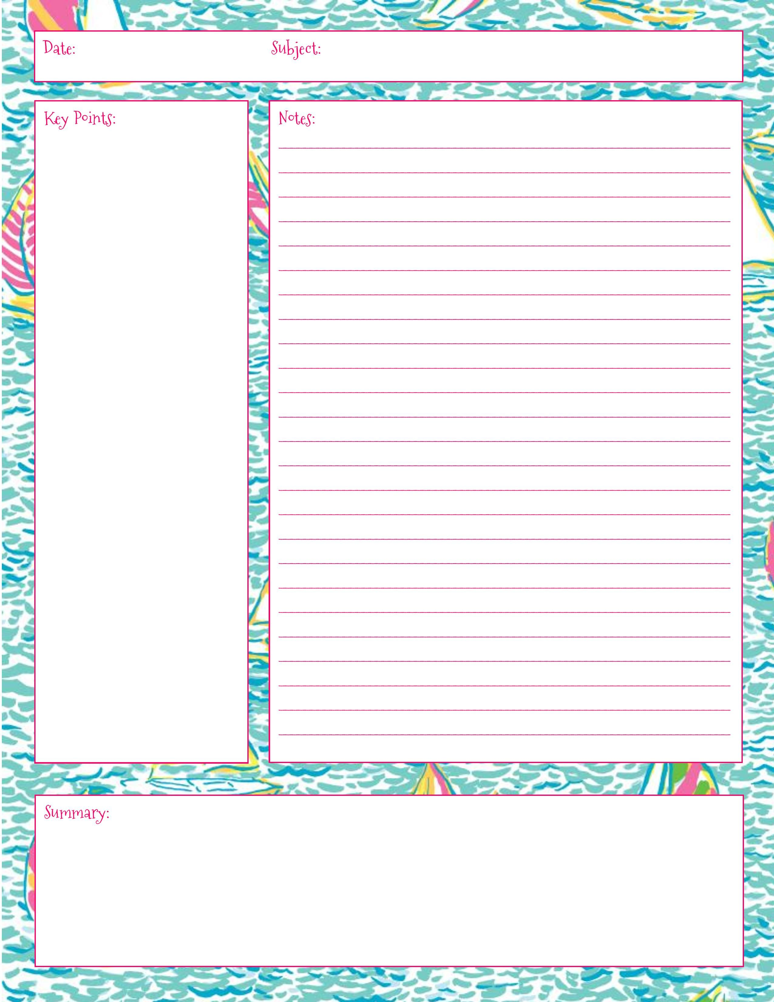Stay Fabulous Lilly Note Taking Printables