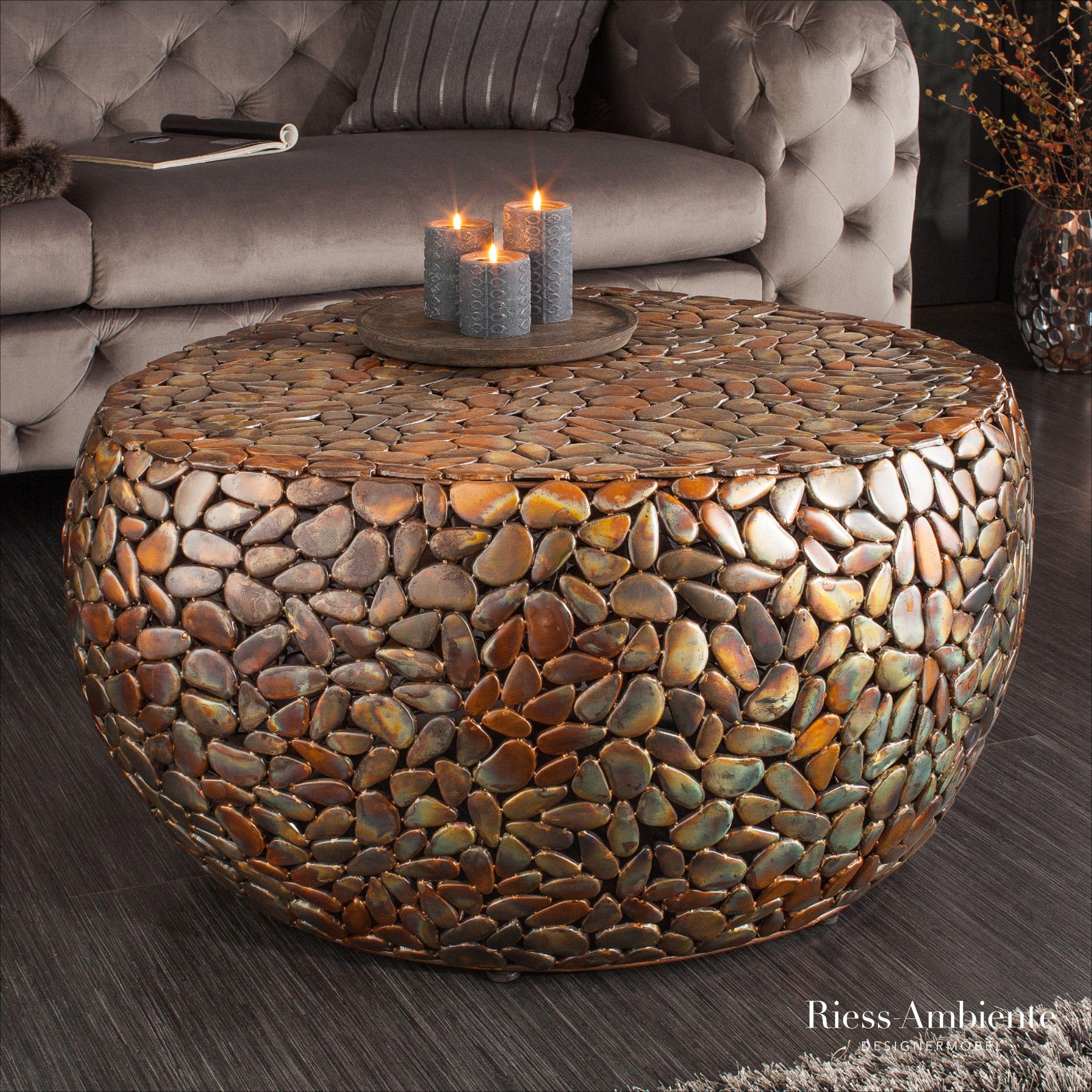 Extravaganter Couchtisch Stone Mosaic 85cm Kupfer Handarbeit Mosaik Optik Riess Ambiente De In 2020 Mosaiksteine Kupfer Couchtisch Couchtisch