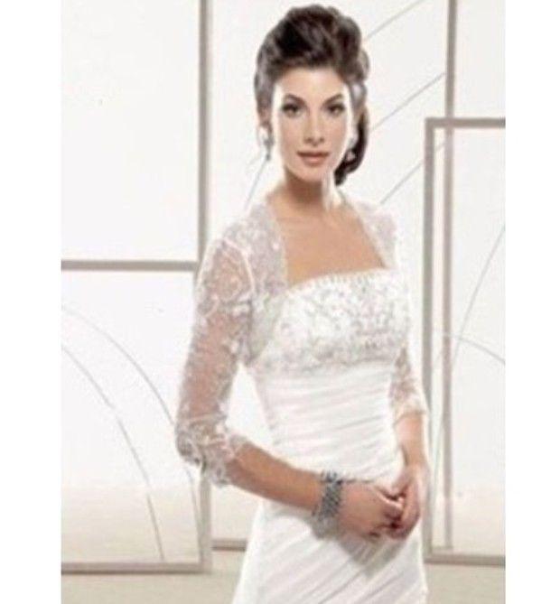 Bride lace bolero coat 3/4 sleeves ivory/white wedding dress shawl ...