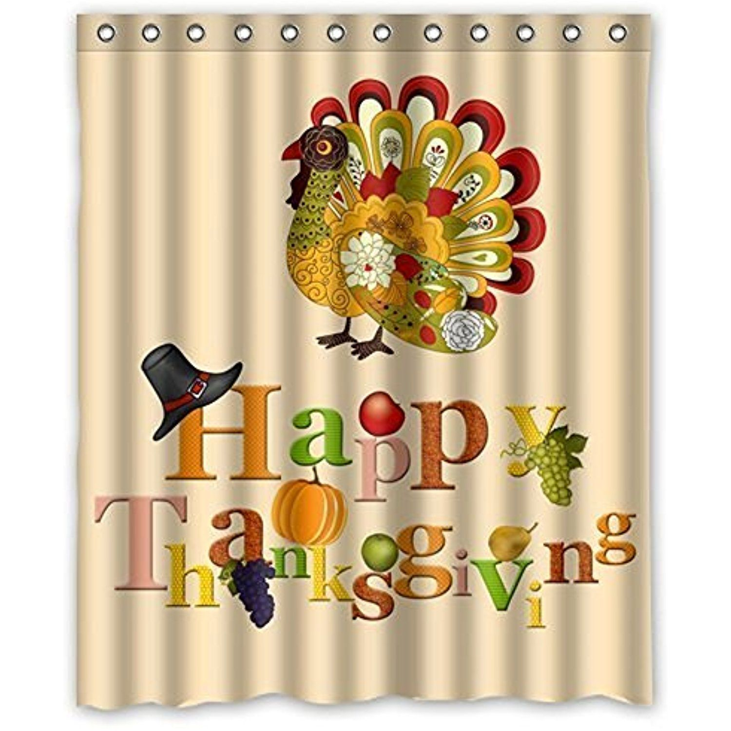 Family Decor Colorful Art Turkey Happy Thanksgiving Day Waterproof Bathroom Fabric Showe Custom Shower Curtains Happy Thanksgiving Day Shower Curtain Polyester