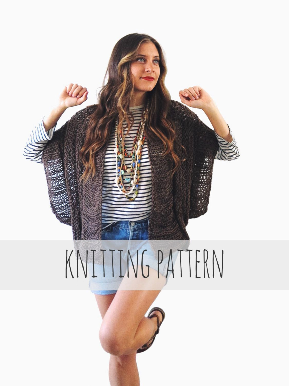 PATTERN for Loose Knit Ribbed Cardigan Shrug Boho Summer Sweater ...