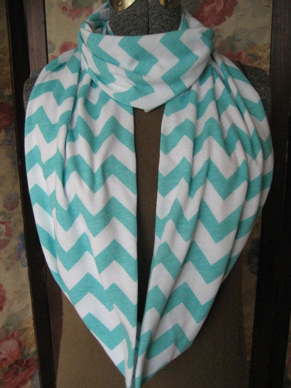 Infinity Scarf Turquoise Chevron Aqua Blue soft jersey knit scarf by BlackLilyCat blacklilycat infinity scarves