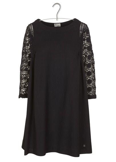 6a13c7bfcde5c Robe courte ample en laine avec guipure Noir by STELLA FOREST