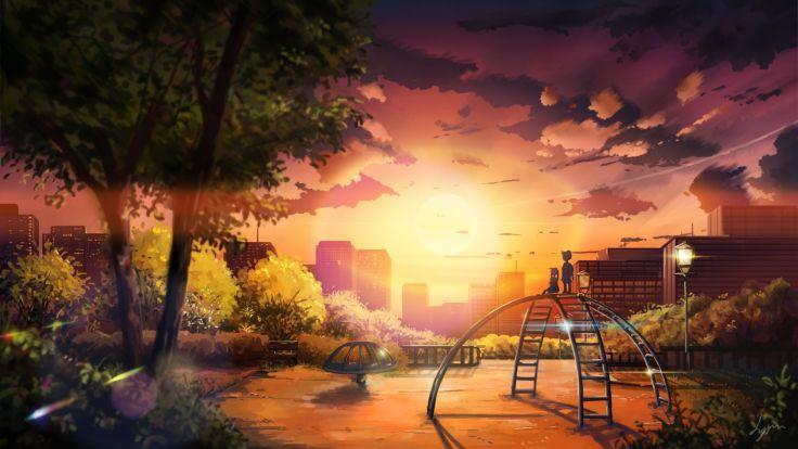 Original Anime Landscape Sunset Sky Cloud Beautiful Tree Park Children City Wallpaper 1920x1080 640971 Pemandangan Anime Latar Belakang Pemandangan