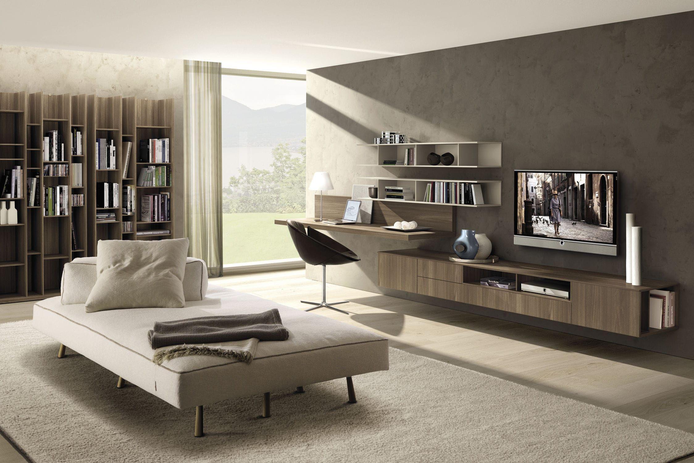 Mueble Tv Moderno De Olmo De Melamina Z409 Zalf Cuarto  # Muebles Melamina Rosario