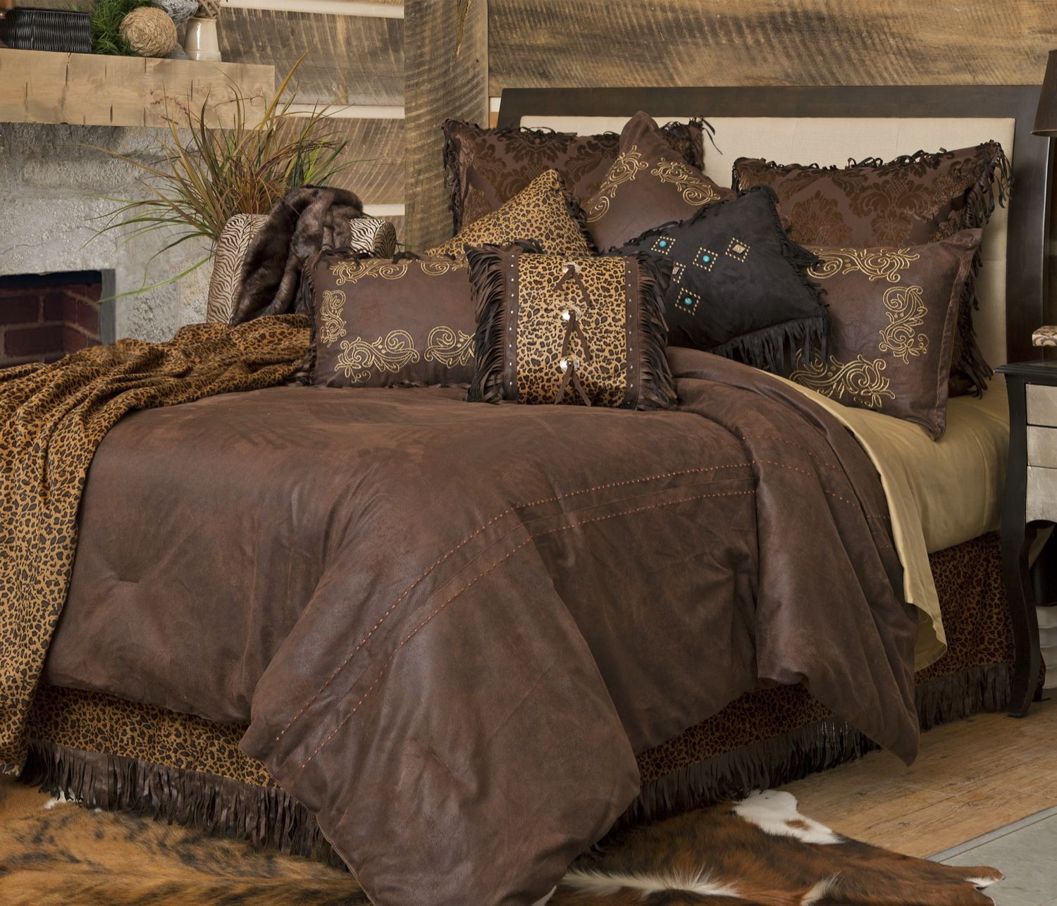 amazon yxjzl cabins set comforter sale comforters spot bear best and lodge cabin sets top leaves bedding brown king themed