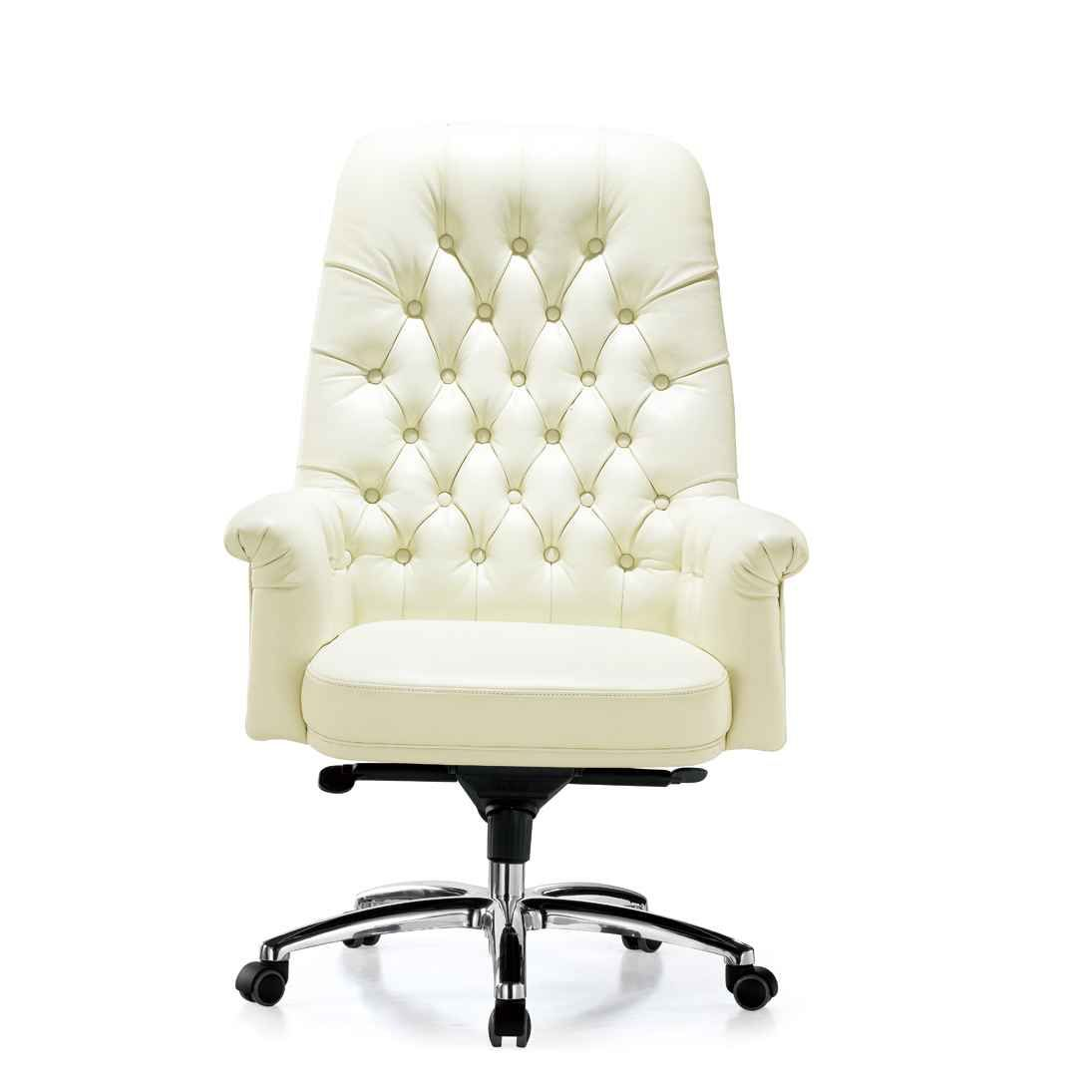 Swivel Luxury White Leather Office Chair Comfortable And Stylish The Perfect Combination