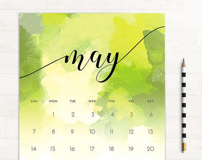 2017 Calendar Watercolor Monthly Calendar • 2017 Monthly Wall ...