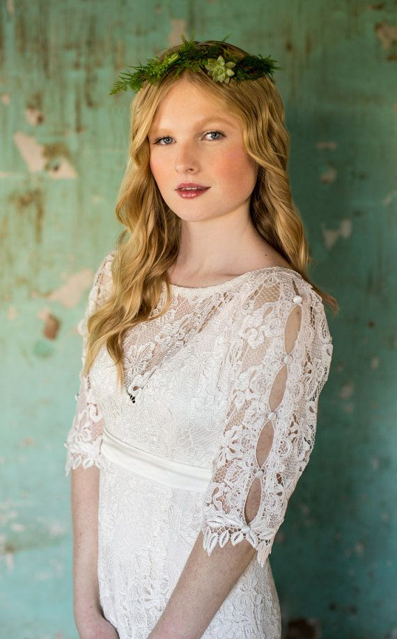 Bohemian Wedding Dress. Empire waist. Mid length sleeves. Backyard ...