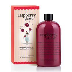 philosophy raspberry glazed shampoo, shower gel & bubble bath