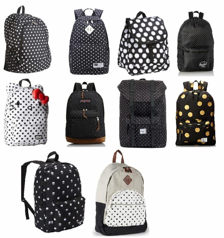 Cute Black and White Polka Dot Backpack for School | Black and ...